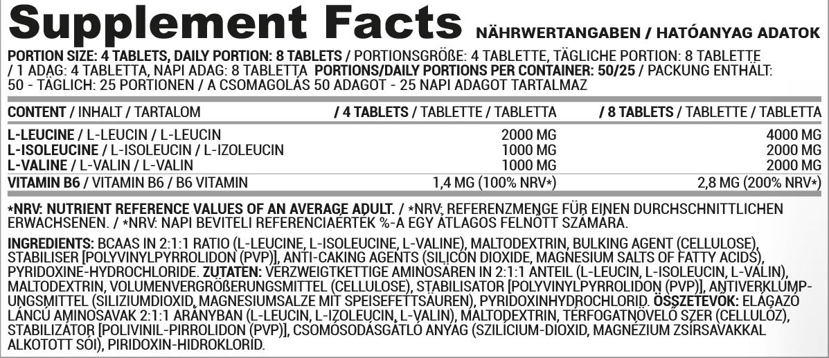 Nutriversum BCAA tabletta, B6 vitaminnal, 200 tabletta