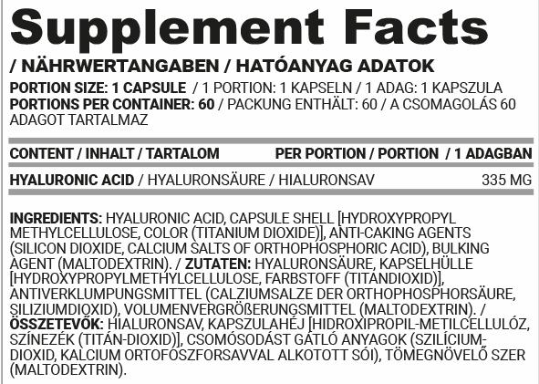 Nutriversum hyaluron kapszula összetevők